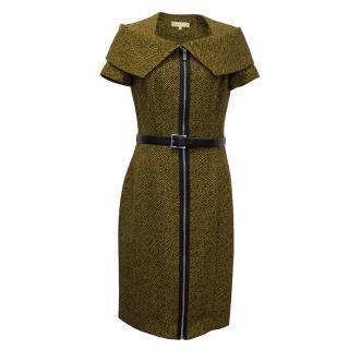 Michael Kors Black and Yellow Striped Wool Dress