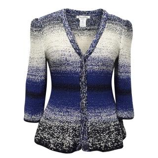 Oscar de la Renta Hand Knit Blue, White and Black Cardigan