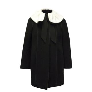 Moschino Wool-Blend Coat with White Collar