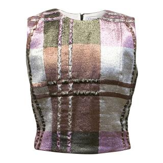 Christian Dior Multi-Colour Metallic Sleeveless Top