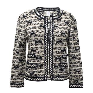 Oscar de la Renta Silk Blue, Grey and Cream Knitted Cardigan