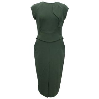 Antonio Berardi Dark Green Structured Wool Dress