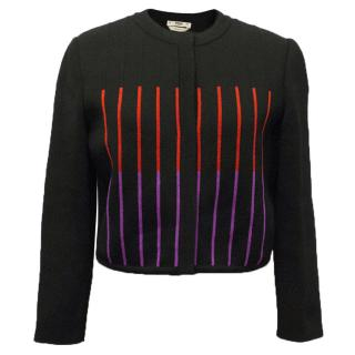 Fendi Black Cardigan with Red and Purple Stripes