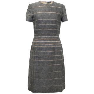 Fendi Short Sleeved Grey Wool Dress with Nude Stripes