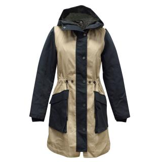 Christopher Raeburn S-Navy/Taupe Cotton Hooded Pop Parka