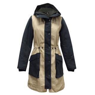 Christopher Raeburn S-Navy/Taupe Cotton Hooded Pop Parka