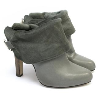 Topshop Unique Ashy Grey Ankle Boots with Fur.