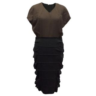 Fendi Wool-Silk Blend Black and Brown Dress
