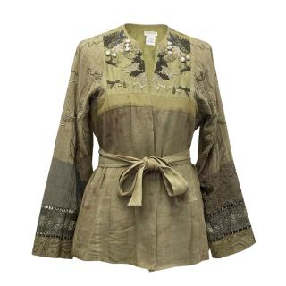 Dries Van Noten Khaki Green Embroidered Kimono with Belt