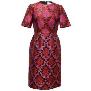 Mary Katrantzou Pink Brocade Shortsleeve Dress