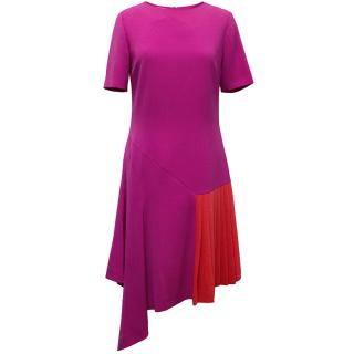 Oscar de la Renta Fuchsia Pink Dress With Red Pleat Insert
