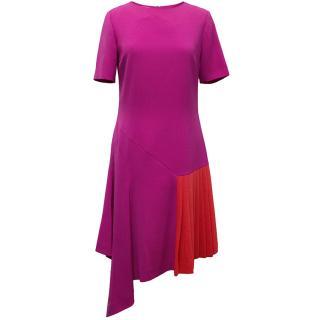Oscar de la Renta Fuchsia Pink Dress With Red Pleat Insert