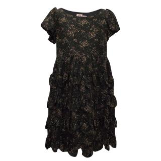 Juicy Couture Black Silk Dress with Flower Print and Ruffels