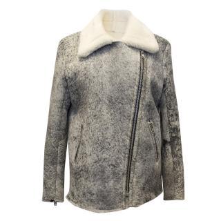 Sandro Grey Wash Sheepskin Leather Coat