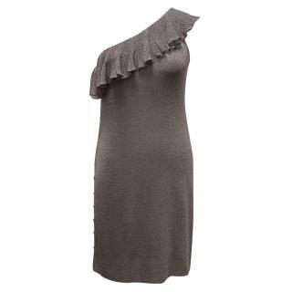 Azzaro One Shoulder Grey/Lilac Glittery Dress