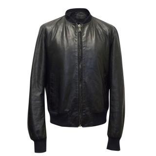 Dolce and Gabbana Navy Leather Bomber Jacket.