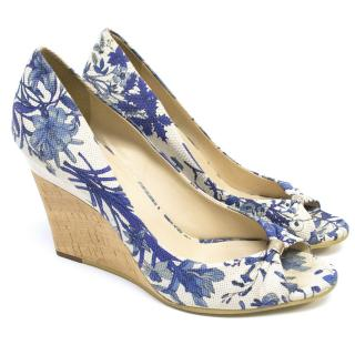 Gucci Blue and White Floral Canvas/Leather Wedges