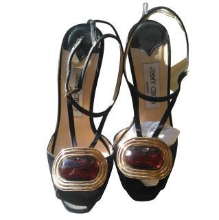 Jimmy Choo High Heeled Sandals with Embellished Toe
