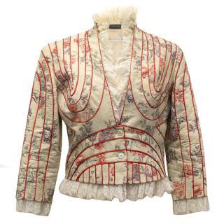 Alexander McQueen Cream Cotton-Blend Floral Jacket