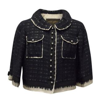 Louis Vuitton Navy Cropped Jacket with Gold Interior