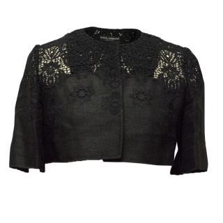 Dolce & Gabbana Black Embroidered Bolero Jacket