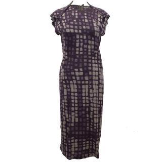 Bottega Veneta Wool Purple and Grey Check Dress