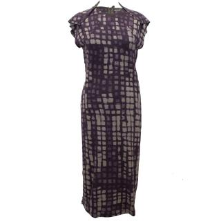 Bottega Veneta Wool Purple and Grey Check Dress