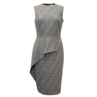 Christian Dior Grey Sleeveless Pencil Dress With Ruffle