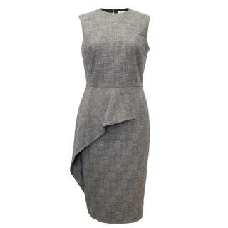 Christian Dior Grey Sleeveless Pencil Dress With Ruffle