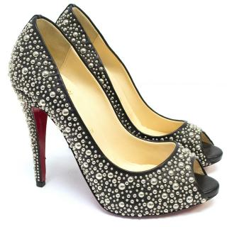 Christian Louboutin Black Peep Toes With Studs
