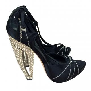 Christian Dior Black Silk Crystal Heel