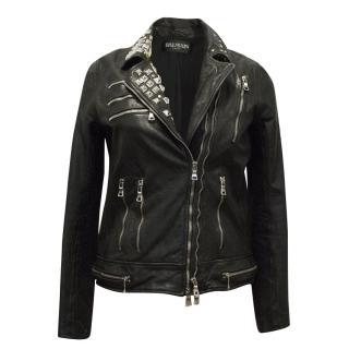 Balmain Studded Black Leather Jacket