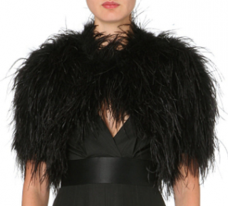 Alice Temperley Black Feather and Pure Silk Lined Bolero