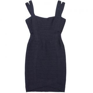 Herve Leger Navy Blue Bandage Dress