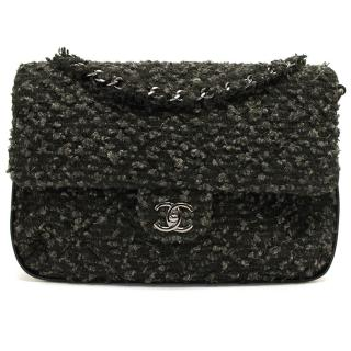 Chanel Large Flap Bag with a Wool Cover in Black and Grey