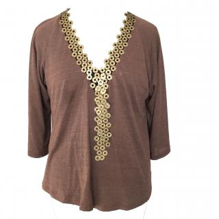 Gharani Strok Evening Top Brown With Chain Neckline