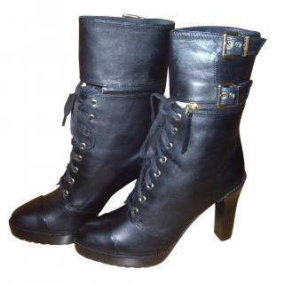 Diesel Black Detachable Cuff Ankle Boots.