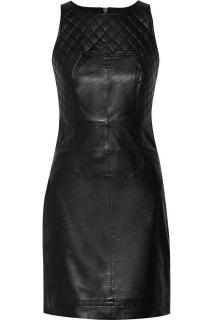Walter Baker  Black Leather Quilted Dress.