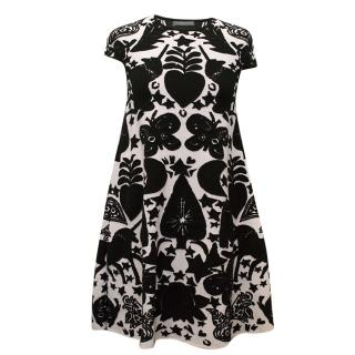Alexander McQueen Cream and Black Patterned Dress