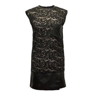 Phillip Lim Black Lace Dress With Leather Trims
