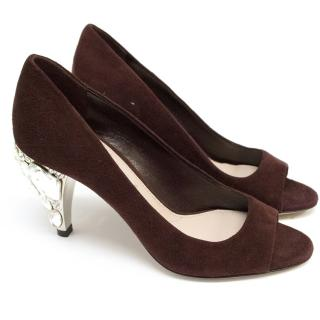 Miu Miu Burgundy Sandals with Embellished Heels