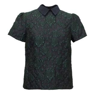 Erdem Green and Navy Patterned Top With Collar
