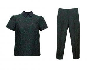Erdem Navy and Green Floral Print Top and Trousers Set