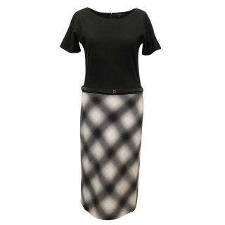 Gucci Wool Dress with Black Top, Checkered Skirt and Belt