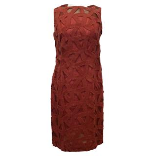Akris Red Embroidered Dress Over Silk