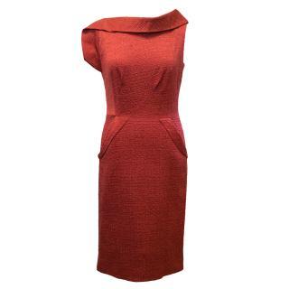 Oscar de la Renta Red Bateau Neckline Dress