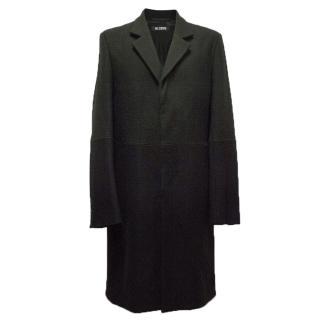 Raf Simons Black Wool Blend Coat.
