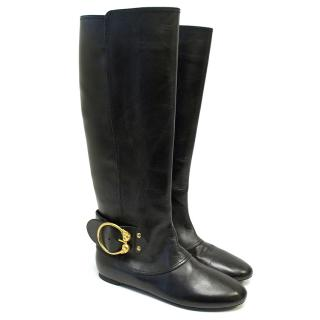 Alexander McQueen Black Tall Boots With Gold Scull Buckle