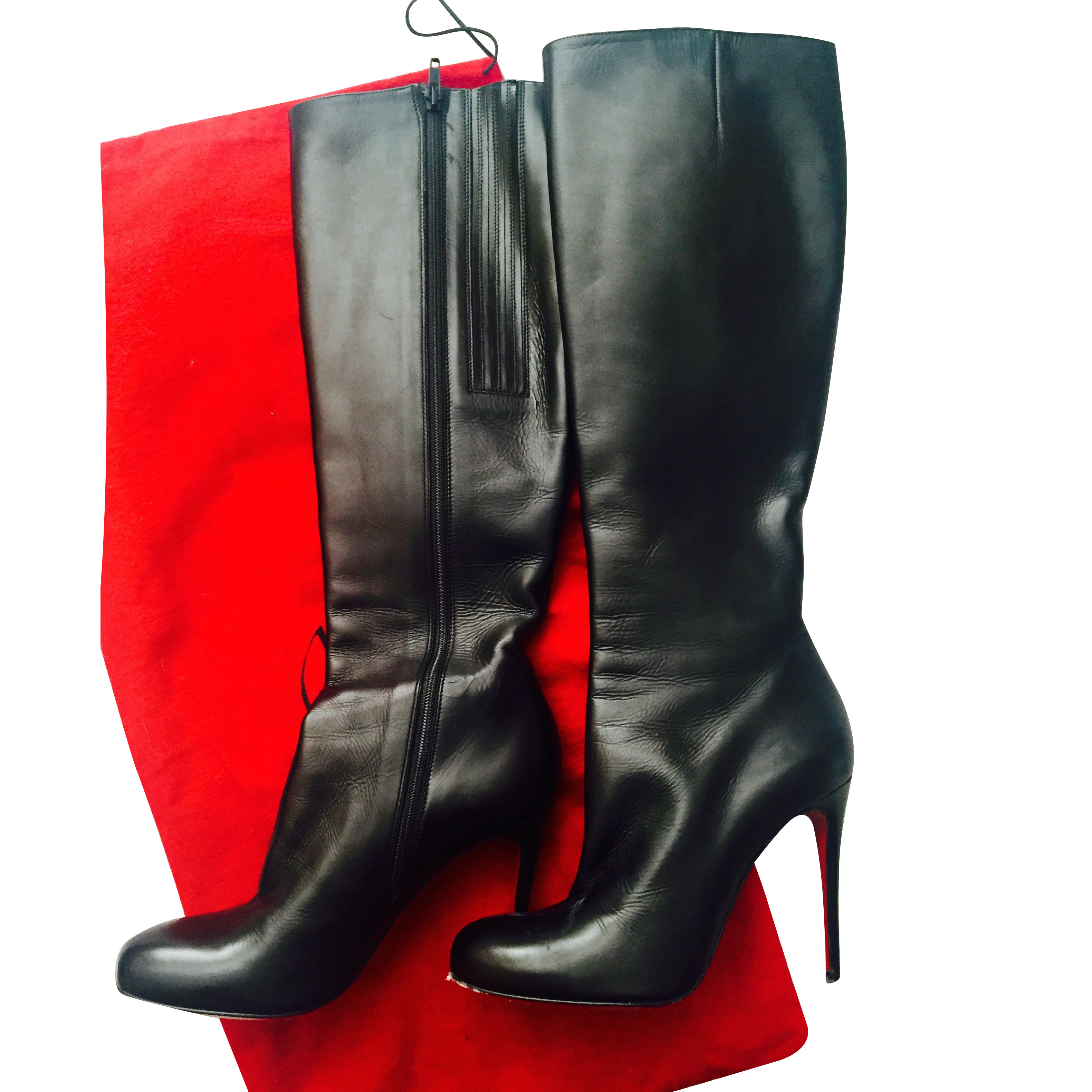 new style 4492f 66559 Christian Louboutin Leather High Heel Boots