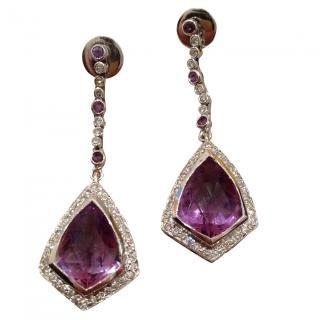 Mozafarian Amethyst Diamond Earring
